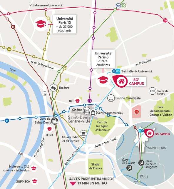 carte localisation - logement étudiant paris