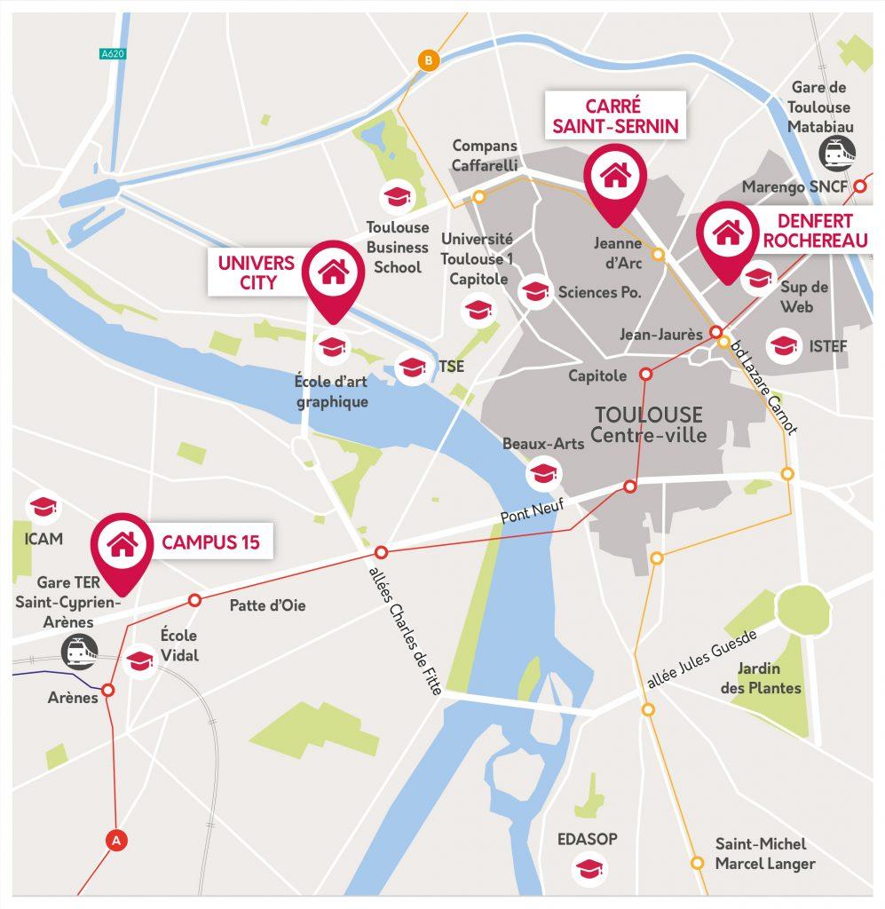 carte de l'emplacement de nos logements étudiants à Toulouse