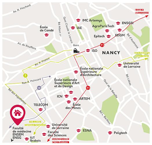 emplacement de nos logements étudiants à Nancy