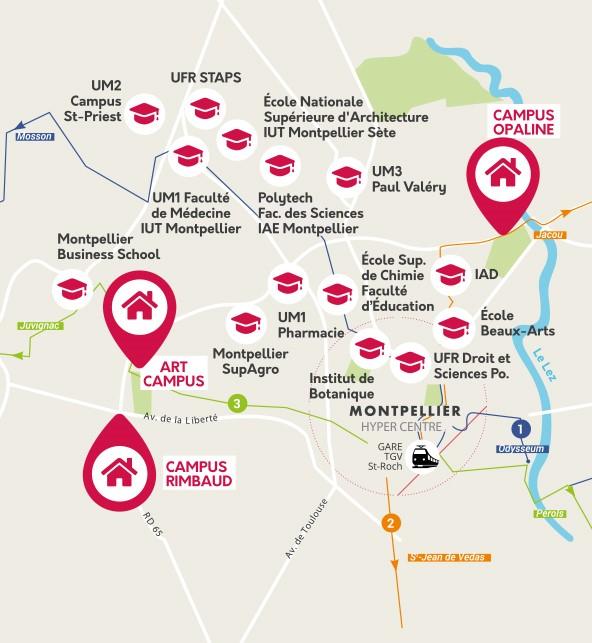carte de nos logements étudiants à Montpellier